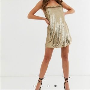 Free People Time to Shine Gold Sequins Dress small